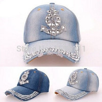 Fashion Men and Women Adjustable Baseball Cap Diamond Anchor Shape Jean Denim Caps Snapback Hats (Color Blue) = 1930336580