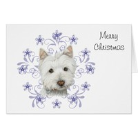 Christmas Cute Westie Dog Art and Snow flake Card