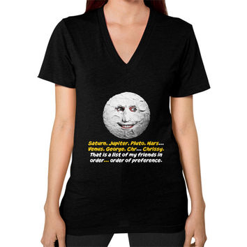 Mighty boosh the moon V-Neck (on woman)