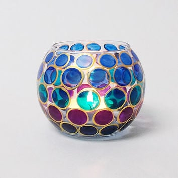 Candle Holder Blue dots Turquoise Purple Hand painted Glass sphere Tea light holder Home decor Wedding candle holder Romantic lighting Gift