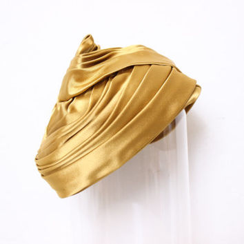 Vintage Mustard Yellow Gold Silk Turban with Hair Net Inside by Intrepid Treasures