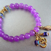 Lucky Buddha Om or Ohm, Purple Alexandrite, Semi Precious Gemstones with Gold Colored Accents and Swarovski, Perfect Gift