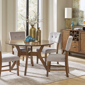 "Home Elegance HE-5492-52-5PC 5 pc Edam neutral tone finish wood mid century modern 52"" round dining table set"