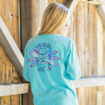 Boho Arrows Long Sleeve Tee Shirt in Chalky Mint by The Southern Shirt Co.