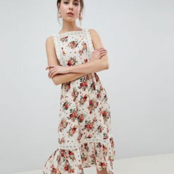 ASOS DESIGN Pinafore Midi Dress In Ditsy Print at asos.com