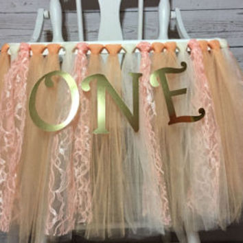 Light Pink and White High Chair Tutu-Alice in Wonderland-Highchair skirt-Light Pink White 1st Birthday-Light Pink and White High Chair Tutu