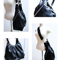 Large Black Leather bag, 3 way convertible purse, women's backpack - Black Diamond