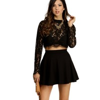 Black Pretty Lace Crop Top