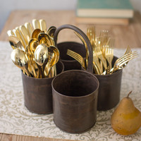 Rustic Iron Utensil Server Set of 4 Containers