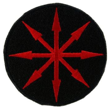 Red Chaos Star Symbol of Eight Arrows  Patch Iron on Applique Alternative Clothing
