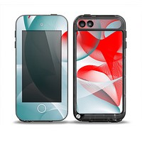 The Abstract Teal & Red Love Connect Skin for the iPod Touch 5th Generation frē LifeProof Case