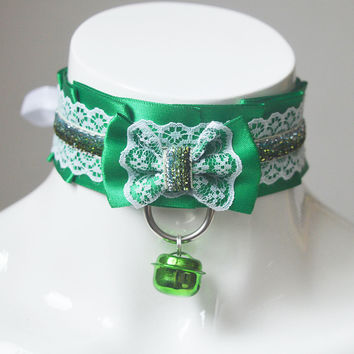 Kittenplay choker - Sapphire symphony - green - ddlg cgl princess neko nekomimi larp cute fantasy lolita petplay kitten play collar