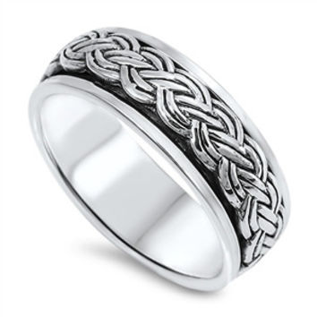 925 Sterling Silver Wiccan Pagan Weave Spinner 7MM Ring