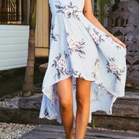 Hearts Are Breaking Sky Blue Floral Pattern Sleeveless Spaghetti Strap Backless Lace Up High Low Midi Dress - Sold Out