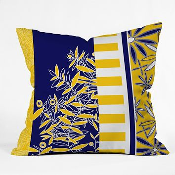 Madart Inc. Blue And Yellow Florals Throw Pillow