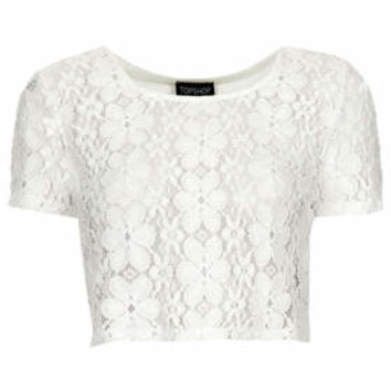 PRETTY LACE CROP TEE
