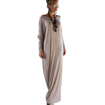 Women's Sexy Spring/Autumn Casual Long Sleeve Maxi Dresses Loose Long Dress Plus Size  Hot Sale