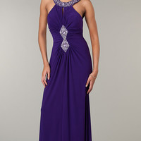 Floor Length Ruched Dress with Cut Out Back