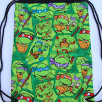 Child's Drawstring Backpack, Teenage Mutant Ninja Turtles, TMNT, Lined Drawstring Backpack, Black Lining, Black Drawstring