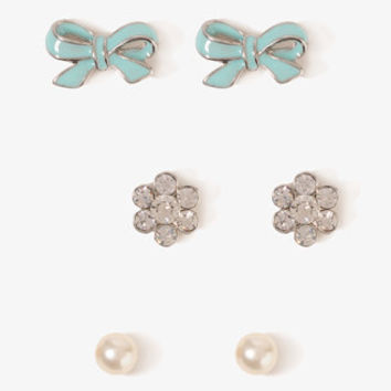 Rhinestoned Bow Stud Set