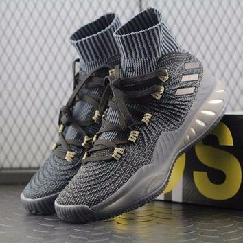 LMFUX5 Adidas Crazy Explosive PK PrimeKnit Boost Mid Black Basketball Shoes BY4470 Sneaker