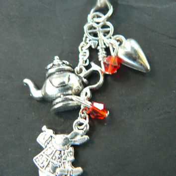 Alice in wonderland inspired ear cuff white rabbit teapot red crystals heart key in fantasy boho gypsy hippie belly dancer and hipster style