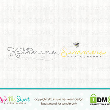 Premade Custom Photography Logo - Bee Logo Photographer Logo Hand Drawn Watermark Logo Design