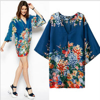 Blue Floral Print V-Neck Kimono Dress