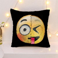 2017 Awesome Changing Face Emoji Sequin Pillow