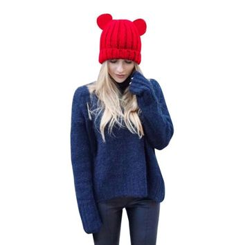 835b3ba7 FEITONG Top Brand Mink Fur Pompom Hat for Women Winter Warm Croc