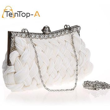 TenTop-A Woven Evening Bag Clutch Handbag Ladies Cross Weaving Clutch Bags Flower Diamond Party Branquet Purse 10 Colors 92048