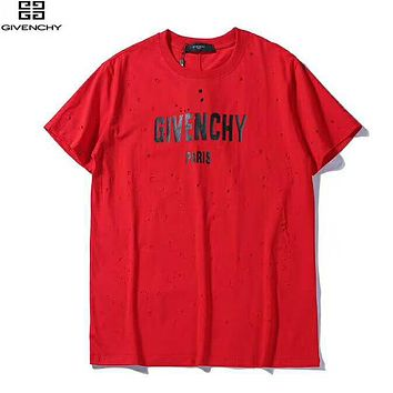 Givenchy Summer New Fashion Bust Letter Print Women Men Hole T-Shirt Top