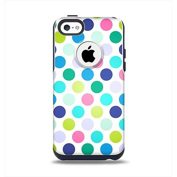 The Vibrant Colored Polka Dot V1 Apple iPhone 5c Otterbox Commuter Case Skin Set