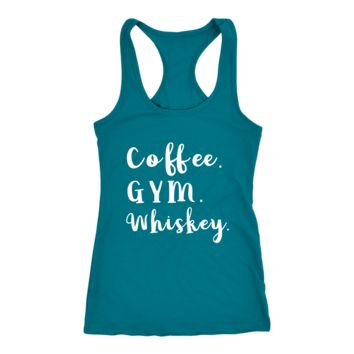 Coffee Gym Whiskey Racerback Womens Tank Top - 10 Colors