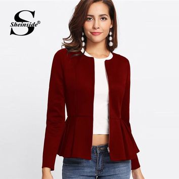 Trendy Sheinside Zip Up Box Pleated Peplum Autumn Jacket Women Ruffle Bolero Workwear 2018 Clothes Slim Outerwear Burgundy Womens Coats AT_94_13