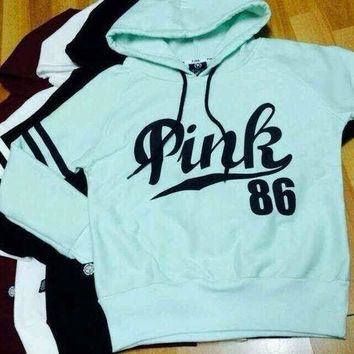 Victoria's Secret Women's Fashion Letter Print Hooded Long-sleeves Pullover Tops Sweater Hoodie
