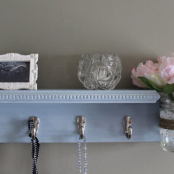 Shabby chic blue shelf with hooks, mason jar shelf, vase, key holder, arrow and lace, jewelry organizer, french cottage, home decor shelf