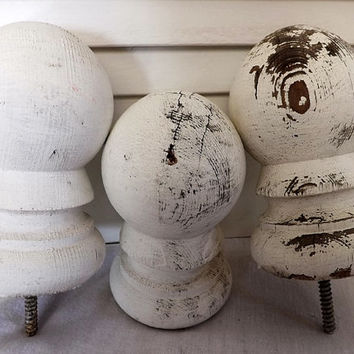 Old Wood Finials White Paint Weathered