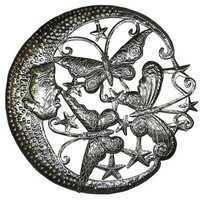 Moon and Butterflies Metal Wall Art 24-inch Diameter - Croix des Bouquets