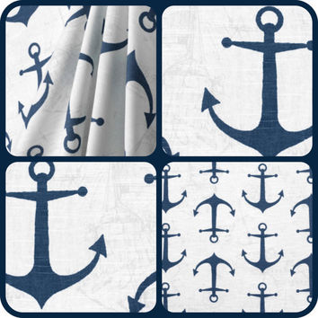 NEW: Nautical Pillows Navy Blue Anchors Throw Pillow cover 18x18 inches