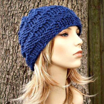 10% Off - Hand Knit Hat Womens Hat - The Basketweave Beanie in Sapphire Blue - READY TO SHIP