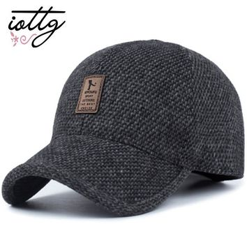 Trendy Winter Jacket IOTTG New Fashion Thickened Baseball Cap With Ears Cotton Warm Hat Snapback Hats Ear Flaps Trucker Cap For Men Women AT_92_12