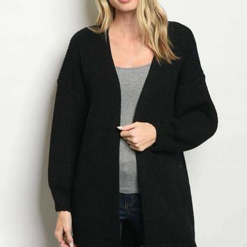 Frayed Hem Sweater Cardigan - Black