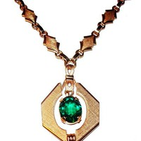 "Emerald Green Pendant Signed V. D. 12 K GF Brushed Gold 16"" Vintage 1940s"