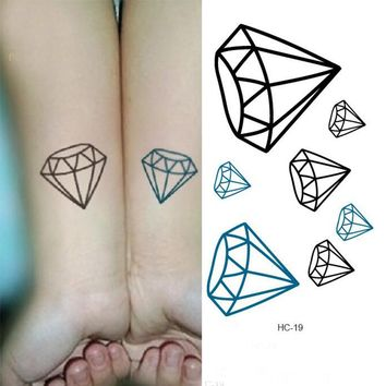 Diamond Shape Removable Unisex Water Transfer Waterproof Body Stickers Fake Tattoo Personality For Halloween Costume Party