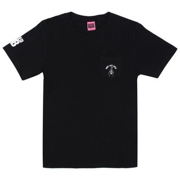 The Good Luck Bitch Pocket Tee in Black