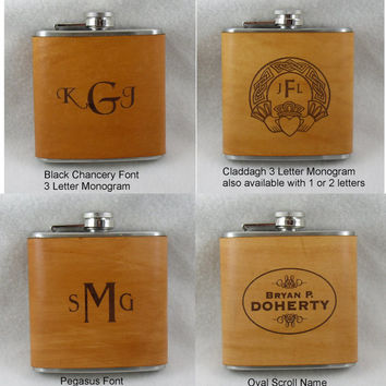 Set of 5 Personalized Flask for Groomsmen - Handmade Leather Wrapped Flasks - Wedding Party Gifts - FREE Engraved Note on Backside!