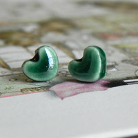 Green Ear Studs Bluegrass Earrings Tiny Ceramic Posts Hypoallergenic Heart Pottery Modern Fashion Jewelry