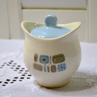 Vintage Sugar Bowl White Blue Beige Black Geometric Design Mid Century PanchosPorch