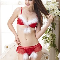 SD009 sales promotion 2014 free shipping  Christmas women  bra set  sexy lingerie  red have B/C/D cup style no.cris 00301